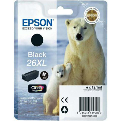Genuine Epson C13T26214012 (#26H) Black High Capacity Ink Cartridge (T2621XLBKOEM)