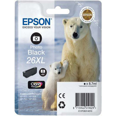 Genuine Epson C13T26314012 (#26H) Photo Black Extra Capacity Ink Cartridge (T2631XLPBKOEM)