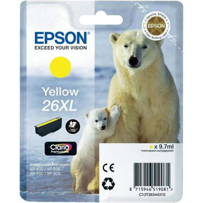 Genuine Epson C13T26344012 (#26H) Yellow High Capacity Ink Cartridge (T2634XLYOEM)
