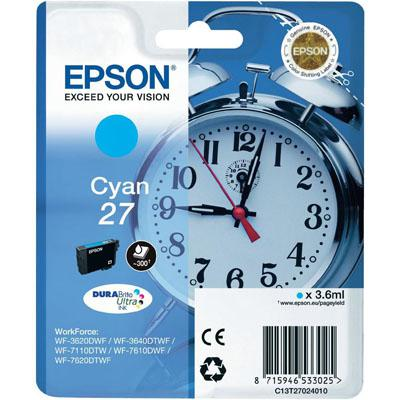 Genuine Epson C13T27024010 (27) Cyan Ink Cartridge (T27COEM)