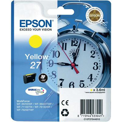 Genuine Epson C13T27044010 (27) Yellow Ink Cartridge (T27YOEM)