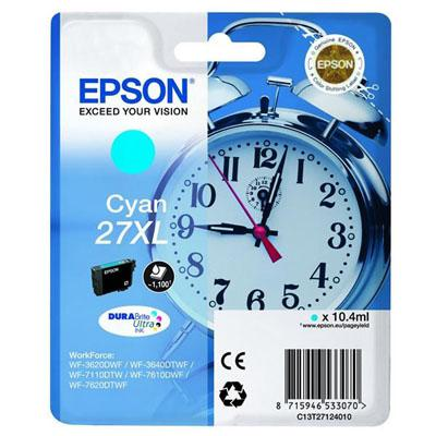 Genuine Epson C13T27124010 (27XL) Cyan High Capacity Ink Cartridge (T27XLCOEM)