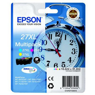 Genuine Epson C13T27154010 (27XL) C/M/Y Multi Pack High Capacity Ink Cartridge (T27XLCMYMULTIOEM)