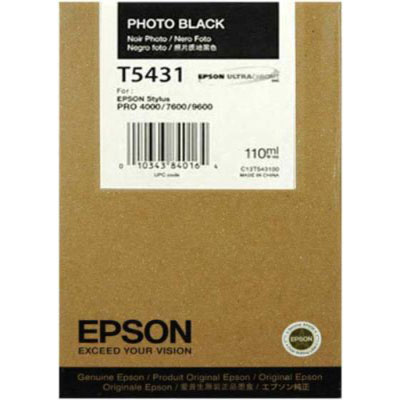 Genuine Epson C13T543100 Photo Black Ink Cartridge (T5431PBKOEM)