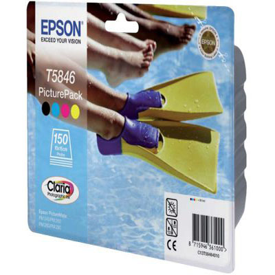 Genuine Epson C13T58464010 Picturepack BK/C/M/Y Ink Cartridge (T5846BKCMYPPOEM)