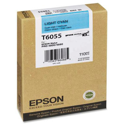 Genuine Epson C13T605500 Light Cyan Ink Cartridge (T6055LCOEM)