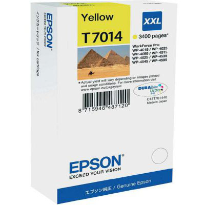 Genuine Epson C13T70144010 Yellow Extra High Capacity Ink Cartridge (T7014YHOEM)