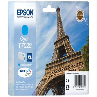 Genuine Epson C13T70224010 Cyan High Capacity Ink Cartridge (T7022CHOEM)