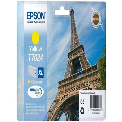 Genuine Epson C13T70244010 Yellow High Capacity Ink Cartridge (T7024YHOEM)