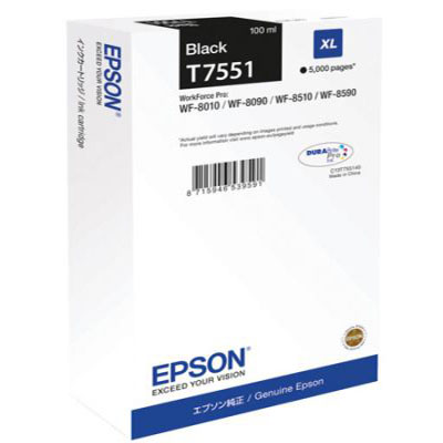 Genuine Epson C13T755140 Black High Capacity Ink Cartridge (T7551BKHOEM)