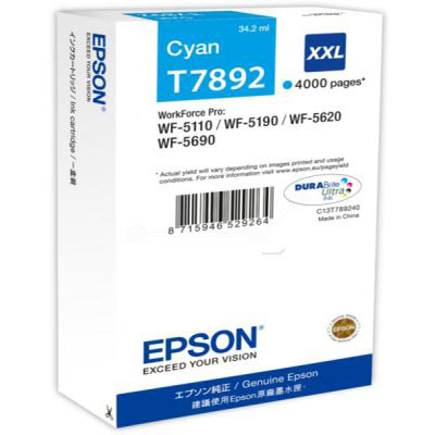 Genuine Epson C13T789240 Cyan Extra High Capacity Ink Cartridge (78XXLCOEM)