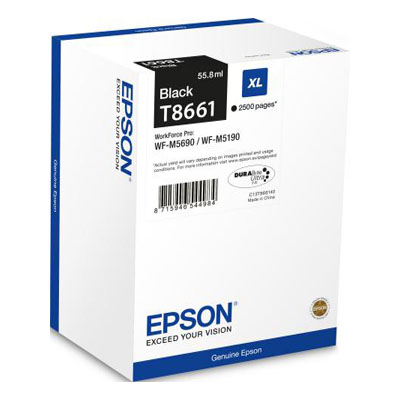 Genuine Epson C13T866140 Black High Capacity Ink Cartridge (T8661BKHOEM)