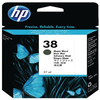 Genuine HP C9412A (#38) Matte Black Ink Cartridge (HP38MBKOEM)