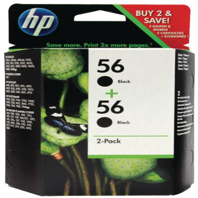Genuine HP C9502AE (#56) Black Twin Pack Ink Cartridge (HP56BKTWINOEM)