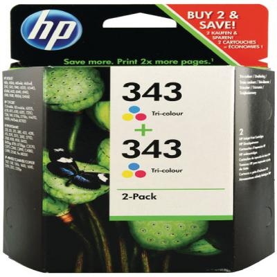 Genuine HP CB332E (#343) Tri-Colour Twin Pack Ink Cartridge (HP343CLRTWINOEM)