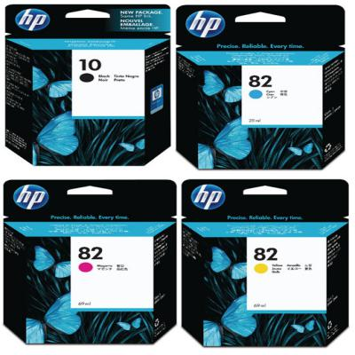 Genuine HP (#10) Black HP (#82) C/M/Y High Capacity Multi Pack Ink Cartridge (HP10BKHP82CMYHMULTIOEM)