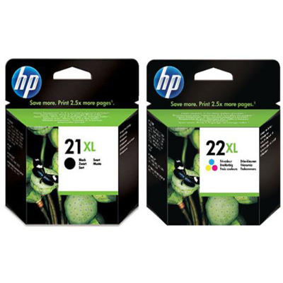 Genuine HP (#21) Black HP (#22) Tri Colour Ink Cartridge (HP21XLHP22XLCLRHMULTIOEM)