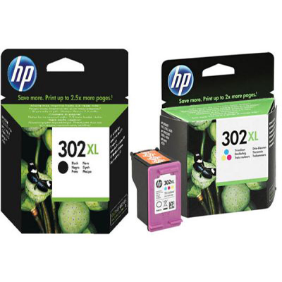 Genuine HP  (#302) BK/Tri-Colour High Capacity Multi Pack Ink Cartridge (HP302XLBKCLRHMULTIOEM)