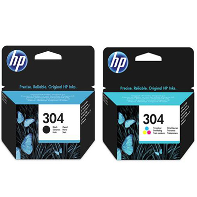 Genuine HP N9K07AE & N9K08AE (#304XL) Black & Tri-Color High Capacity Ink Cartridge (HP304XLBKHP304XLCLRMULTIOEM)