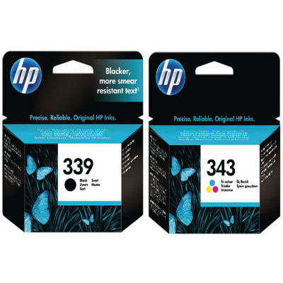 Genuine HP (#339) Black HP (#343) Tri-Colour Multi Pack Ink Cartridge (HP339BKHP343CLRMULTIOEM)