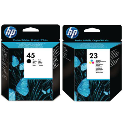 Genuine HP (#45) Black HP (#23) Tri-Colour Multi Pack Ink Cartridge (HP45BKHP23CLRMUKTIOEM)