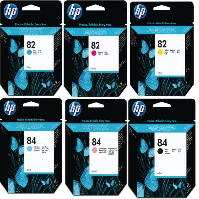 Genuine HP (#84H) BK/LC/LM HP (#82) C/M/Y/ Multi Pack ink Cartridge (HP84BKLCLMHHP82CMYOEM)