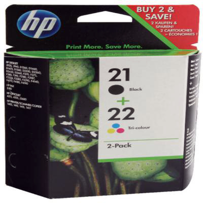 Genuine HP SD367AE (#21) Black HP (#22) Tri-Colour Multi Pack Ink Cartridge (HP21BKHP22CLRMULTIOEM)