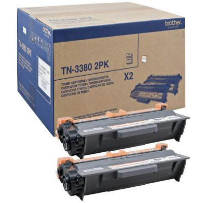 Genuine Brother TN-3380BKTWIN Black Twin Pack Toner Cartridge (TN3380BKTWINOEM)