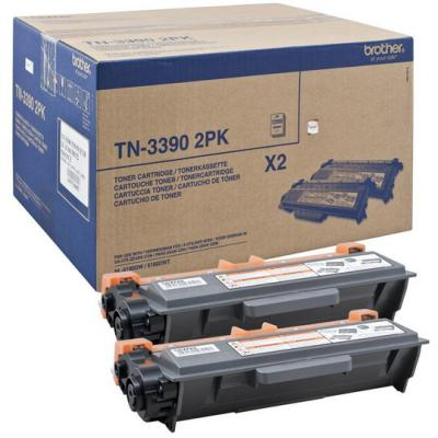 Genuine Brother TN-3390BKTWIN Black Twin Pack Toner Cartridge (TN3390BKTWINOEM)