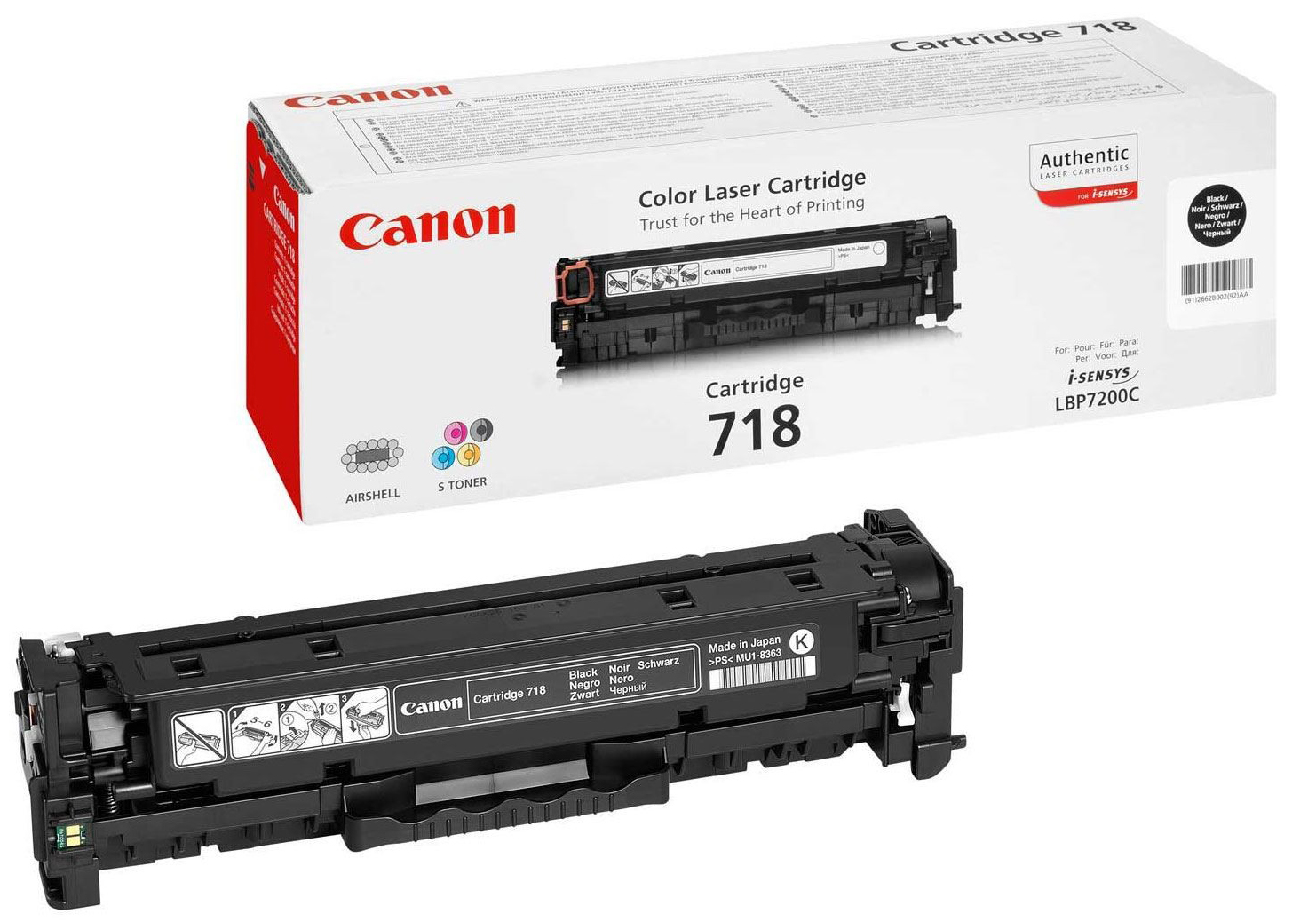 Genuine Canon 718BK Black Toner Cartridge (2662B002AA)