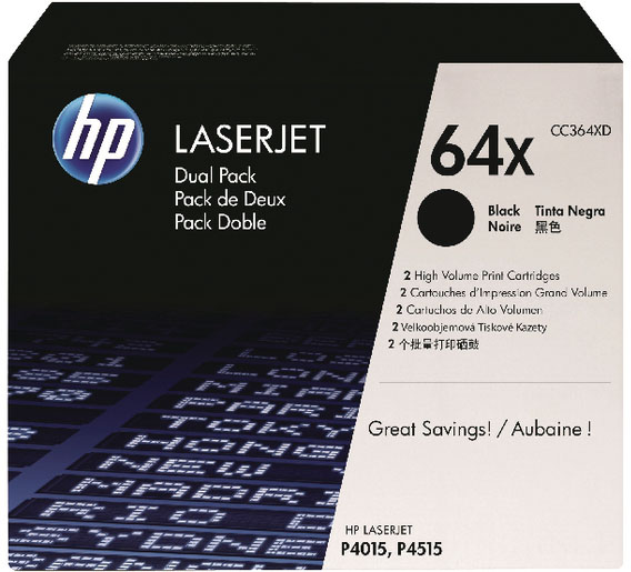 Genuine HP CC364XD (#64X) BK Twin High Capacity Toner Cartridge (HPCC364XDBKTWINOEM)