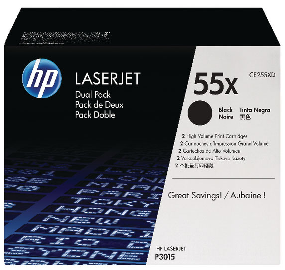 Genuine HP CE255XD (#55X) BK Twin High Capacity Toner Cartridge (HPCE255XDBKTWINOEM)