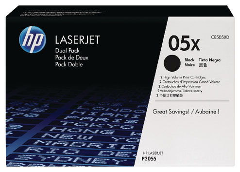 Genuine HP CE505XD (#05X) BK Twin Toner Cartridge (HPCE505XDBKTWINOEM)