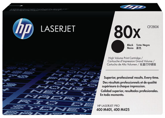 Genuine HP CF280X (#80X) Black High Capacity Toner Cartridge (HPCF280XBKOEM)