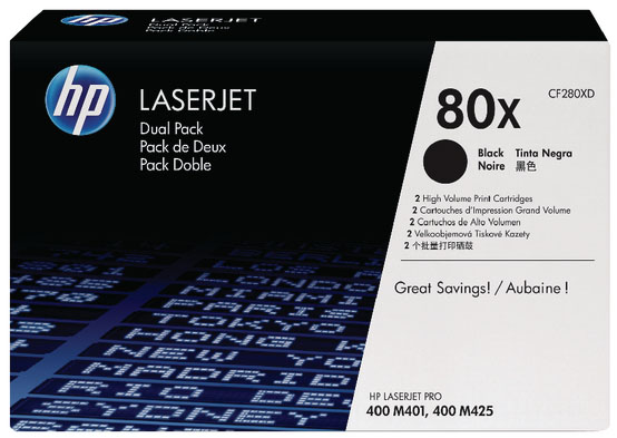 Genuine HP CF280XD (#80X) BK Twin Pack High Capacity Toner Cartridge (HPCF280XDBKTWINHOEM)