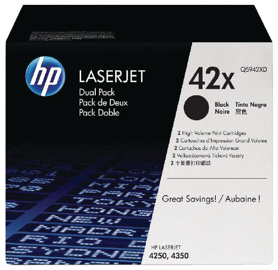 Genuine HP Q5942XD (#42X) BK Twin Pack High Capacity Toner Cartridge (HPQ5942XDBKOEM)