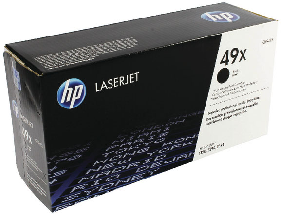 Genuine HP Q5949X (#49X) Black High Capacity Toner Cartridge (HPQ5949XBKOEM)