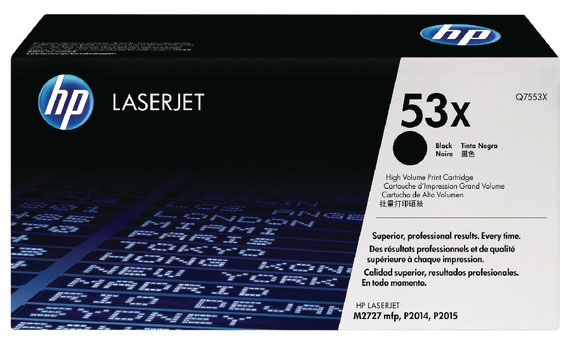 Genuine HP Q7553X (#53X) Black High Capacity Toner Cartridge (HPQ7553XBKOEM)