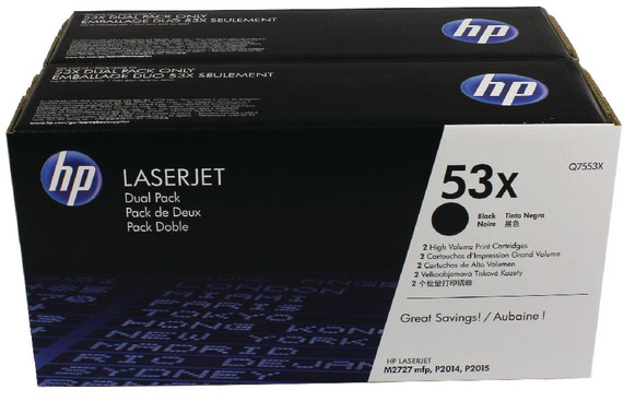 Genuine HP Q7553XD (#53X) BK Twin Pack High Capacity Toner Cartridge (HPQ7553XDBKOEM)