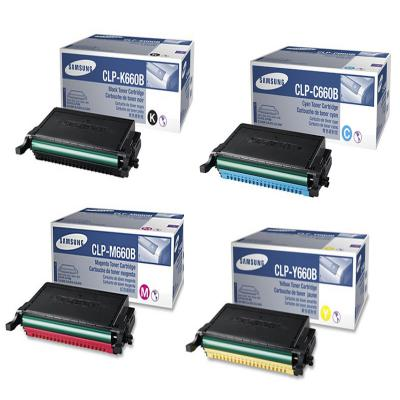Genuine Samsung CLP-660B BK/C/M/Y High Capacity Multi Pack Toner Cartridge (SAMCLP660BBKCMYMULTIOEM)